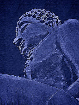 Buddha At The Golden Triangle - Blue Sketch Art Print