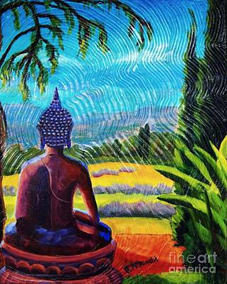 Painting - Buddha Atop The Lavender Farm by Janet McDonald