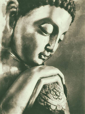 Siddharta Photograph - Buddha Close Sepia by Madeleine Forsberg