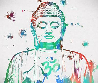 Buddha Color Paint Splatter Art Print