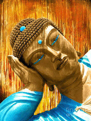 Statue Portrait Digital Art - Buddha Contemplation by Khalil Houri