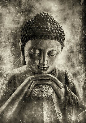 Buddha Dark Sepia Art Print
