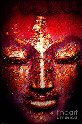 Digital Art - Buddha  Face by William Meemken
