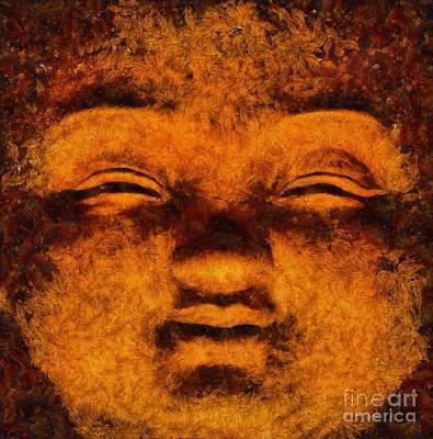 Freedom Painting - Buddha, Fire Sermon By Sarah Kirk by Sarah Kirk