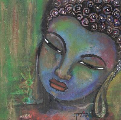 Mixed Media - Buddha - Green Background by Prerna Poojara