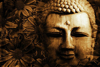 Buddha In Chrysanthemums Art Print by Skip Nall