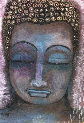 Mixed Media - Buddha In Shades Of Blue Meditative by Prerna Poojara