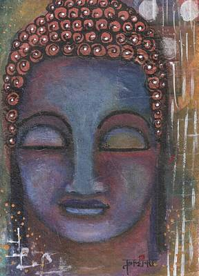 Mixed Media - Buddha In Shades Of Blue  by Prerna Poojara