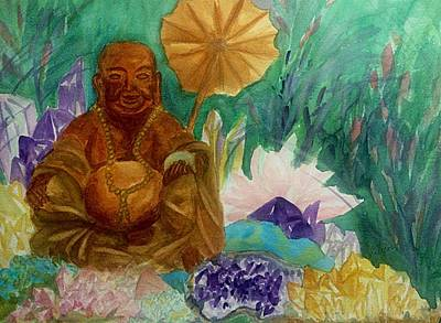 Painting - Buddha In The Crystal Garden by Ellen Levinson