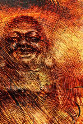Digital Art - Buddha In Wood by 2bhappy4ever