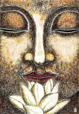 Flower In Pen And Ink Drawing - Buddha by KM Paintings