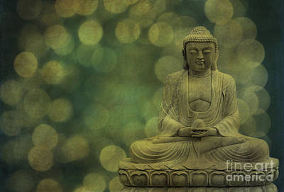 Buddha Light Gold Print by Hannes Cmarits