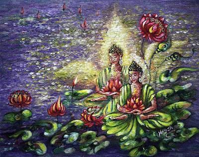 Bodhisattva Painting - Buddha Lotus by Harsh Malik