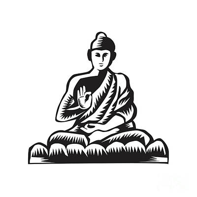 Buddha Lotus Pose Woodcut Art Print