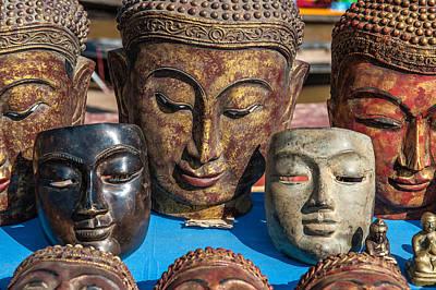 Photograph - Buddha Masks Hadicrafts by Judith Barath