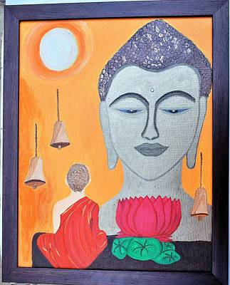 Buddha N Little Monk Art Print