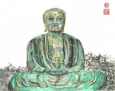 Painting - Buddha Of Kamakura Statue by Terri Harris