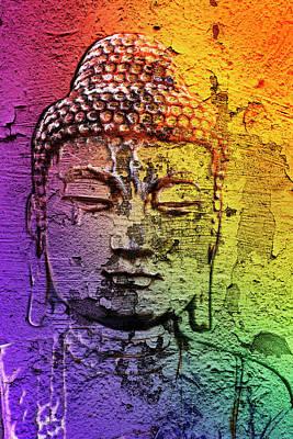 Digital Art - Buddha On The Wall by 2bhappy4ever