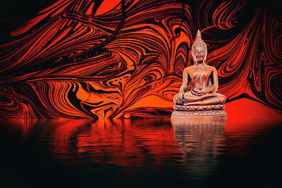 Photograph - Buddha On A Lake by John Williams