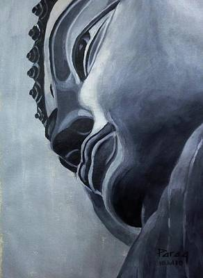 Monotone Drawing - Buddha by Parag Pendharkar