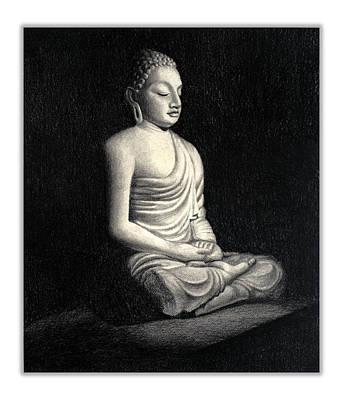 Buddha Sketch Drawing - Buddha by Rachna Gupta
