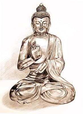 Drawing - Buddha Statue by Ellan Suder