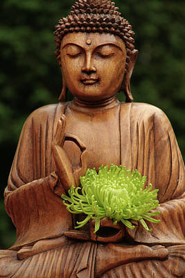 Photograph - Buddha Statue Holding Flower by Christine Amstutz