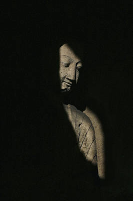 Photograph - Buddha Statue In Shadows, Yungang by Axiom Photographic