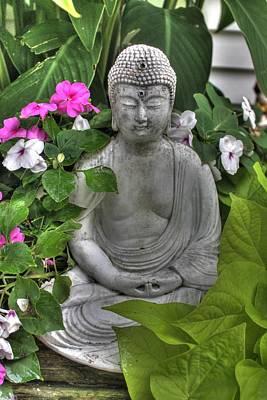 Buddha Statue Peace Zen Soto Garden Flower Art Print by Jane Linders