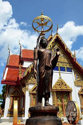 Photograph - Buddha Statue With Sunshade Outside Temple Hat Yai Thailand by Imran Ahmed
