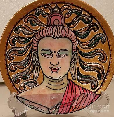 Decoupage Mixed Media - Buddha  by Suman Kamath