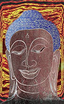 Digital Art - Buddha Vintage Digital Portrait by Ian Gledhill