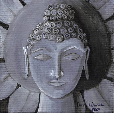 Buddha With A Stone Lotus Art Print by Nicole Werth