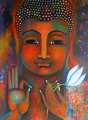 Painting - Buddha With A White Lotus In Earthy Tones by Prerna Poojara