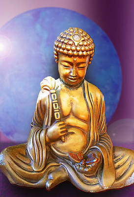 Digital Art - Buddha With Butterfly by Ginny Schmidt