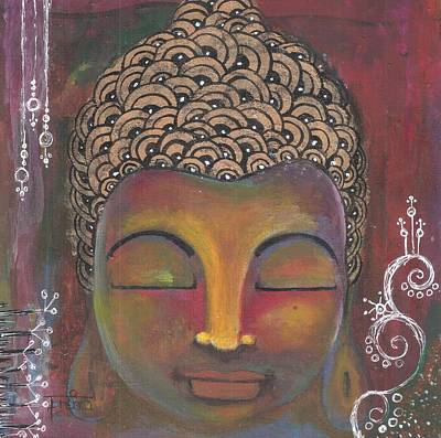 Painting - Buddha With Doodle Background by Prerna Poojara