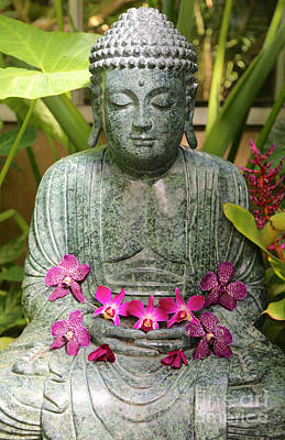 Buddha With Orchids Art Print