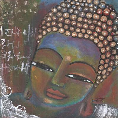 Painting - Buddha With Shlok Like Doodles by Prerna Poojara