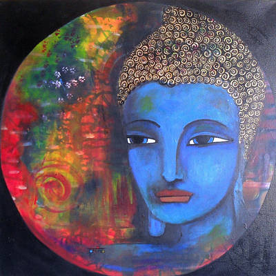 Buddha Within A Circular Background Art Print