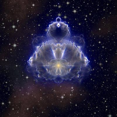 Topknot Digital Art - Buddhabrot Fractal On Sky by Miroslav Nemecek