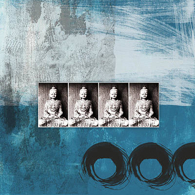 Buddhas In Blue- Contemporary Art By Linda Woods. Art Print by Linda Woods