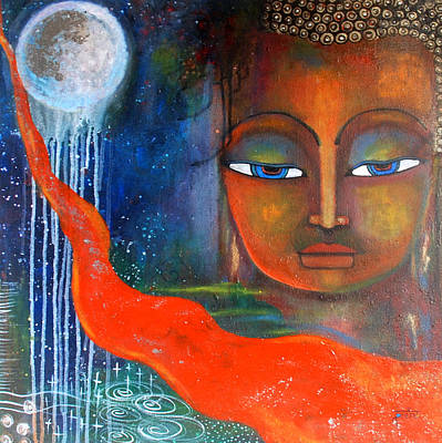Buddhas Robe Reaching For The Moon Art Print