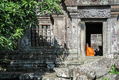 Photograph - Buddhist Monk In Preah Vihear Ancient Temple Ruins In Cambodia by Jacek Malipan