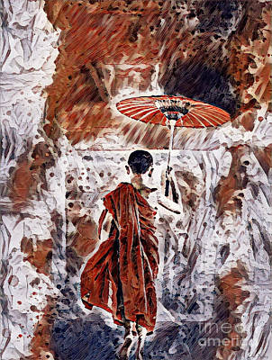 Painting - Buddhist Monk by Lita Kelley