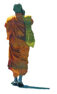 Buddhist Monk Talk Mobile Religion  Art Print