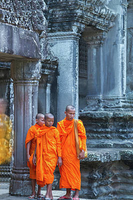 Priests Photograph - Buddhist Monks Cambodia by Stelios Kleanthous