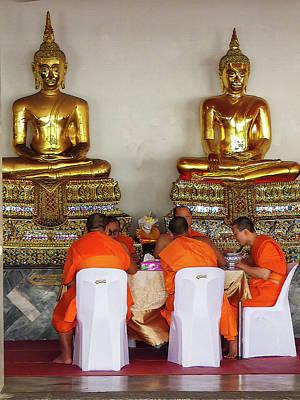 Photograph - Buddhist Monks Having Lunch by Helissa Grundemann