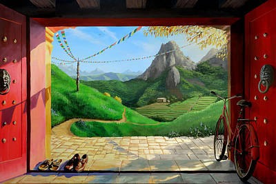 Rice Paddy Painting - Buddhist Temple by Joe Pagac