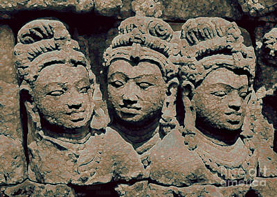 Photograph - Buddhist Temple Sculpture - Borobudur II by Sharon Hudson