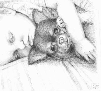 James Parker Drawing - Buddies by James Parker